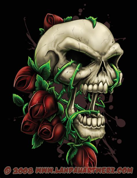 skull and roses by landonlarmstrong on deviantart