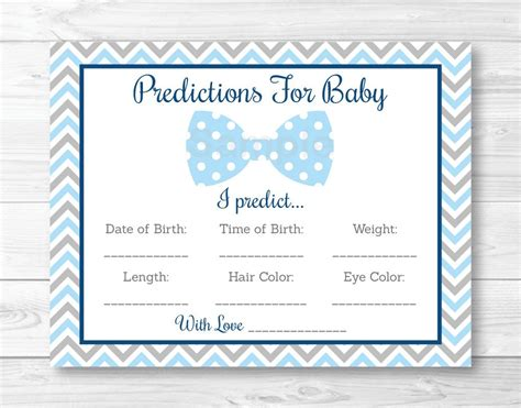 baby shower prediction cards template bow tie baby predictions card baby shower chevron
