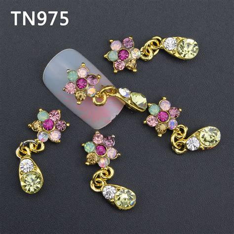 Dijamin Nail Jewelry Glitter 10pc glitter colorful flower 3d nail decorations with rhinestones alloy nail charms jewelry