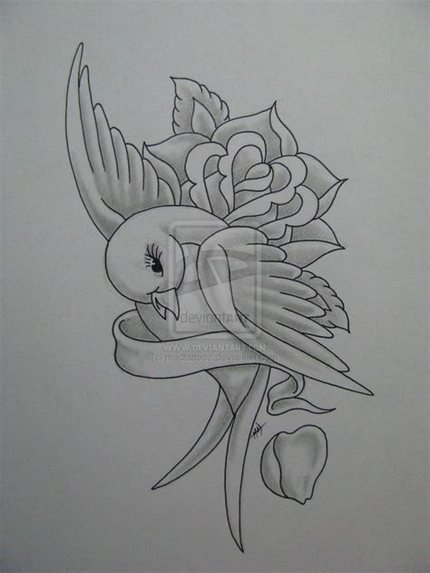 bird and roses tattoo pencil drawing with and ribbon