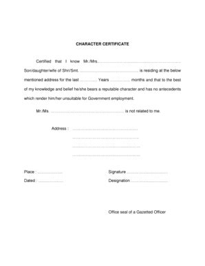 Identity Proof Letter Format Gazetted Officer railway character certificate format fill