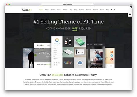 Avada Theme Landing Page | 40 best landing page wordpress themes for apps products