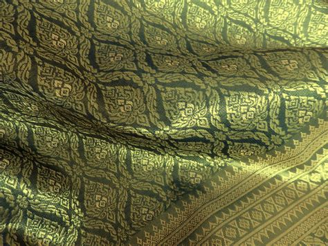 Thai Home Decor thai brocade one yard of faux silk fabric in olive green and