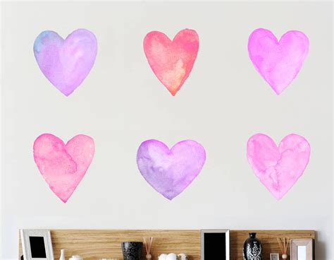pink wall stickers lilac and pink watercolour wall sticker set contemporary wall stickers