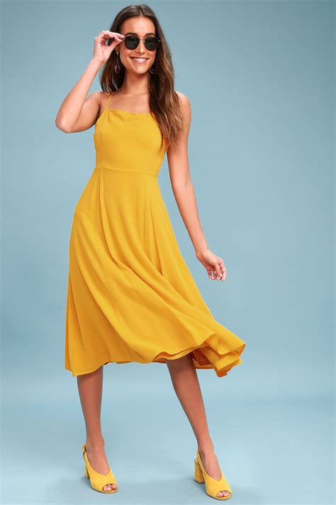 Aqilla Dress By Loislane mustard yellow midi dress sleeveless midi dress