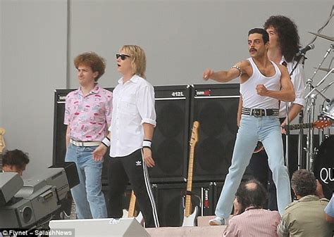 film queen bohemian rhapsody some pics from the live aid set of the new queen biopic