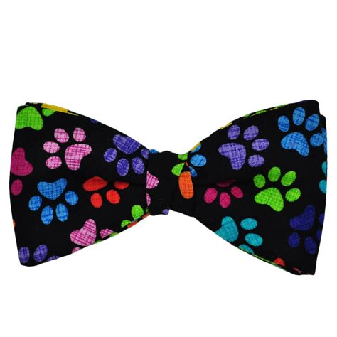 colorful ties colourful paw print novelty bow tie from ties planet uk
