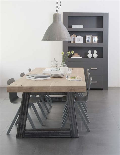 eetkamertafel stalen onderstel houten tafel stalen onderstel home pinterest