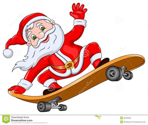 Santa Claus On Skateboard Stock Illustration Image Of Click Santa Claus Skateboard