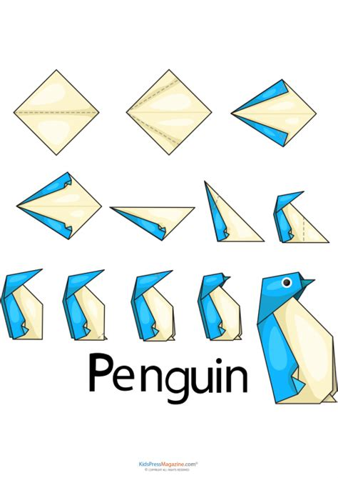 Origami Worksheet - easy origami penguin origami template and activities