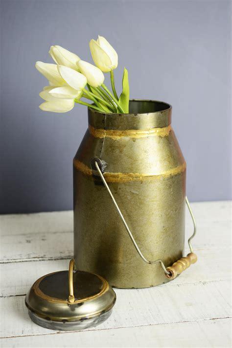 Milk Jug Vase by Bronze Milk Can Vase 10in
