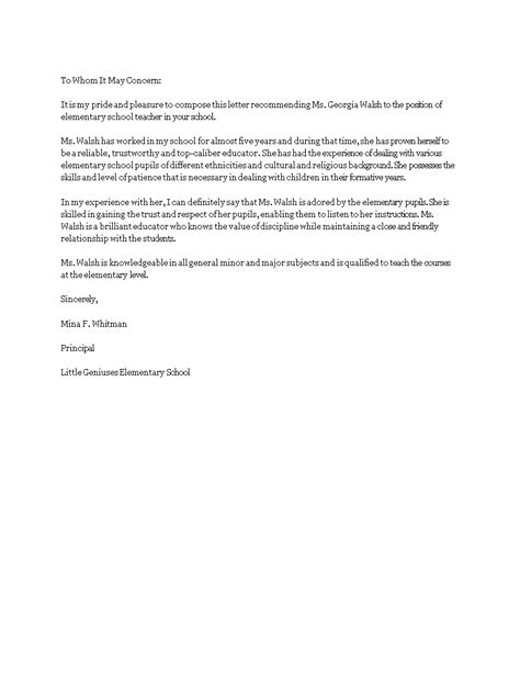 Reference Letter For Elementary free elementary recommendation letter templates at allbusinesstemplates