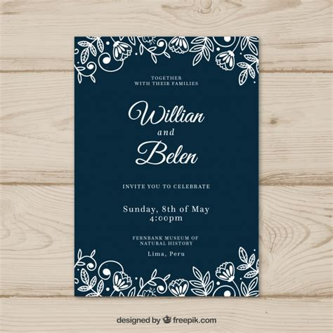 Wedding Invitation Design Freepik by Wedding Card Invitation With Flowers Vector Free