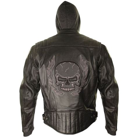 Jaket Me xelement mens armored leather motorcycle jacket with skull