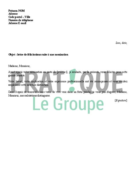Lettre De Presentation Nouveau Collaborateur Lettre De F 233 Licitations Suite 224 Une Nomination Professionnelle Pratique Fr