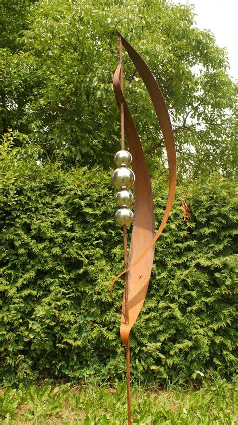 gartendeko sale gartendeko shop garten skulptur rost mit 4 edelstahlkugeln