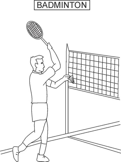 badminton coloring printable page for kids