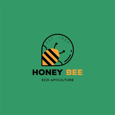 honey bee eco apiculture  logo template vector