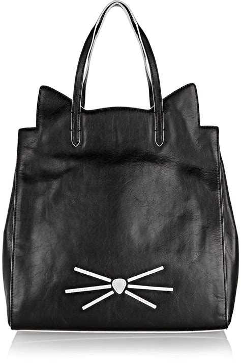 Tote Cat cat tote in black leather karl lagerfeld cat