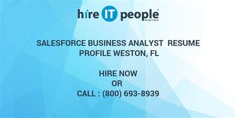salesforce business analyst resume profile weston fl hire it we get it done