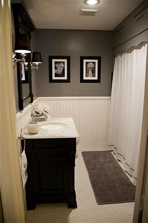 bathrooms with wainscoting photos hex tile wainscoting dark vanity gray paint one day