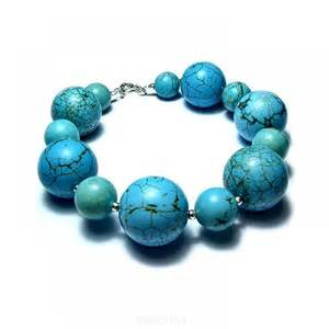Blue bracelet turquoise stones in gorgeous color round beads at
