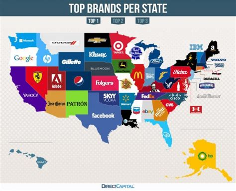 best of brand this map of the u s shows the most googled brand in each