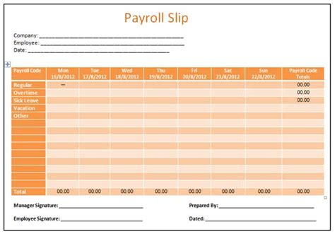 microsoft word templates payroll slip template