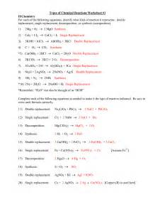 types of chemical reactions worksheet answers davezan