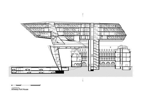 zaha hadid section antwerp port house zaha hadid architects archdaily