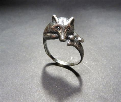 wolf ring animal ring totem ring silver wolf jewelry