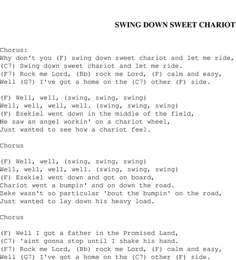 lyrics to swing swing down sweet chariot christian gospel song lyrics