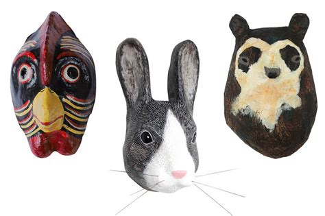 Easter Rabbit Bunny Paper Mache - up your walls with an array of animal masks wsj