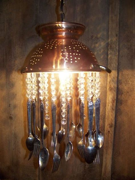 silverware chandelier gorgeous and unique upcycled copper and colander