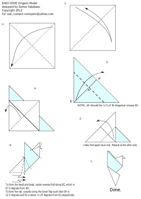 How To Make A Paper Dove Step By Step - easy dove my attempt in origami diagramming romi