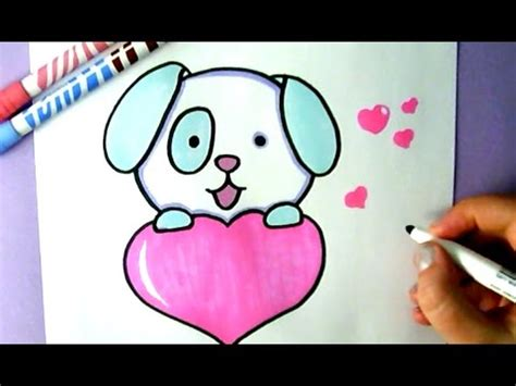 draw  cute puppy   love heart youtube