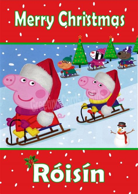 personalised peppa pig christmas card