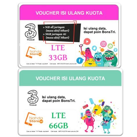 Voucher 3 Three 66 Gb Kuota 66gb voucher tri kuota lte 33gb 66gb paket data three 33 gb 66