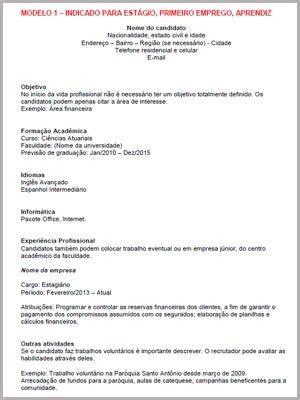 Modelo Curriculum Tecnologico Curr 237 Culo Para Primeiro Emprego Veja Dicas E Como Montar