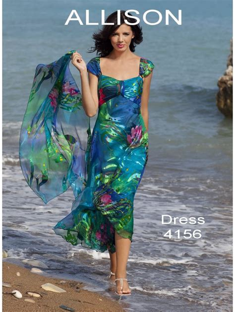Allison 4156 Silk Soft and Floaty Dress Multicolour with matching scarf