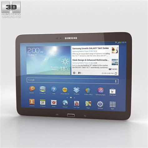 Samsung Tab 3 3d samsung galaxy tab 3 10 1 inch gold brown 3d model hum3d