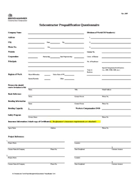 vendor qualification form template construction contract template doc forms fillable