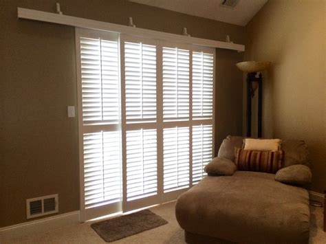 stylish sliding plantation shutters patio door as ideas