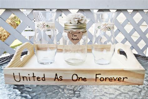 flower unity wedding ceremony handmade wedding unity sand ceremony set with lace flower
