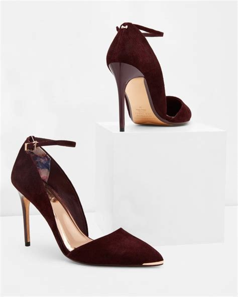 oxblood high heels ankle heeled courts oxblood shoes ted baker