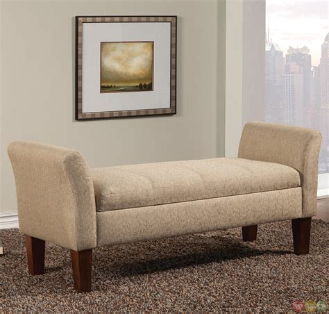upholstered storage bench with arms light tan fabric upholstered storage bench with flared arms