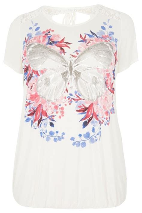 Android Sketch Raglan white pink floral butterfly print lace top plus