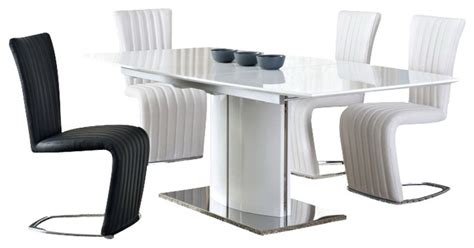 White High Gloss Dining Table 6 Chairs by Blanch White High Gloss Chrome Extendable 8 Pc Dining Set