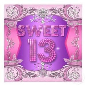 sweet 13 13th birthday pink purple card pink 13th birthday and 13th birthday