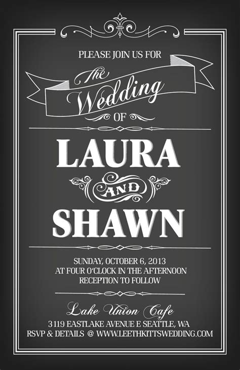 chalkboard invitation template chalkboard wedding